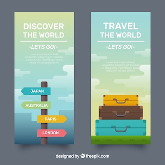 Travel banner with suitcase design