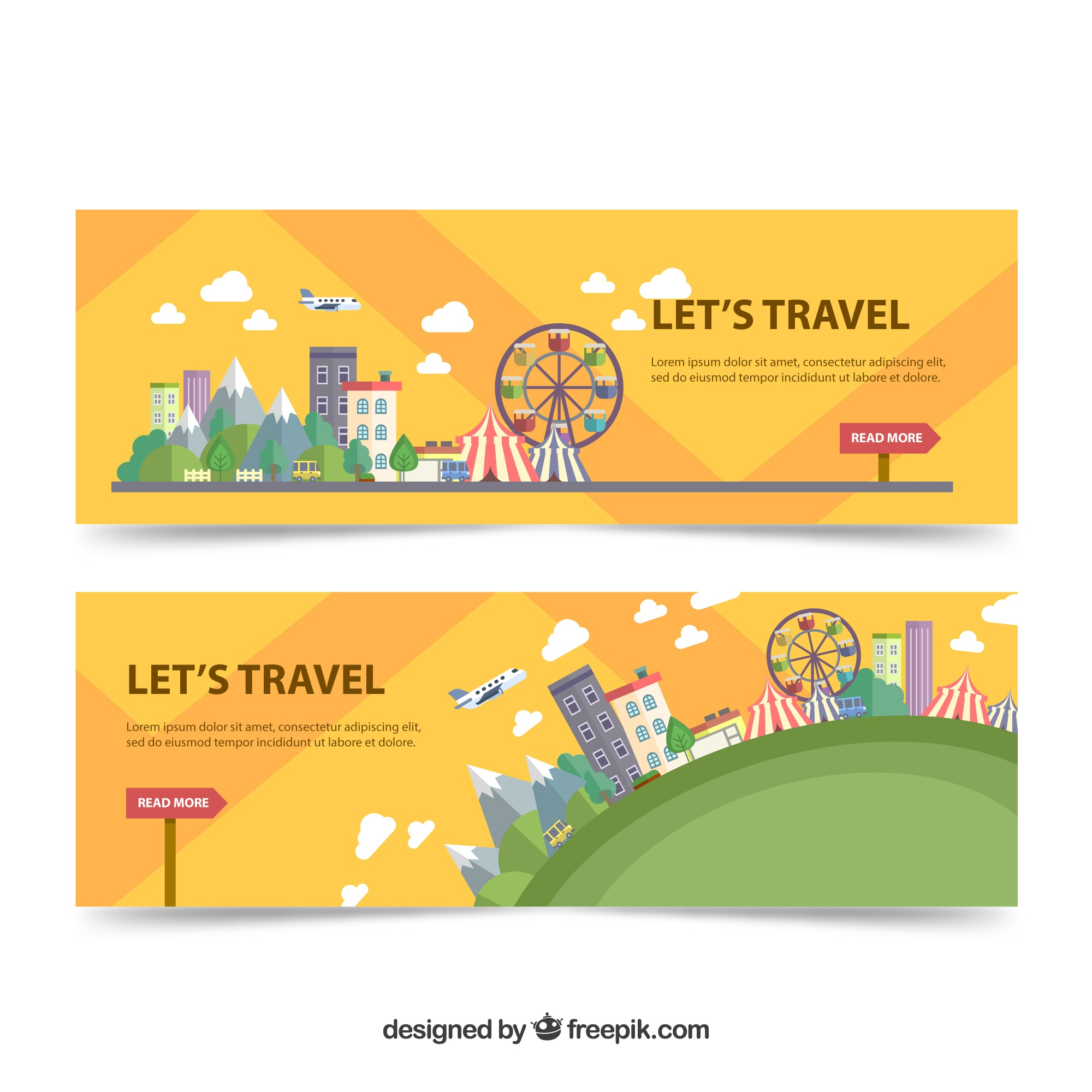 Travel banners in flat design