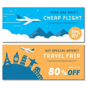 Travel banners set