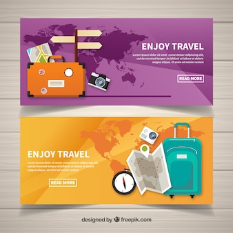 Travel banners with luggage in flat design