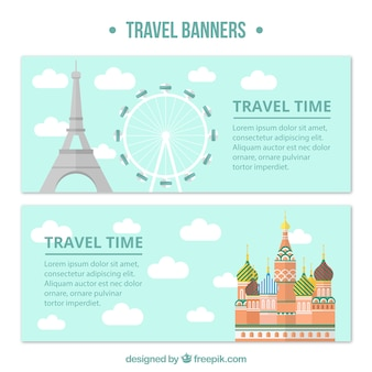 Travel banners with monuments in flat design