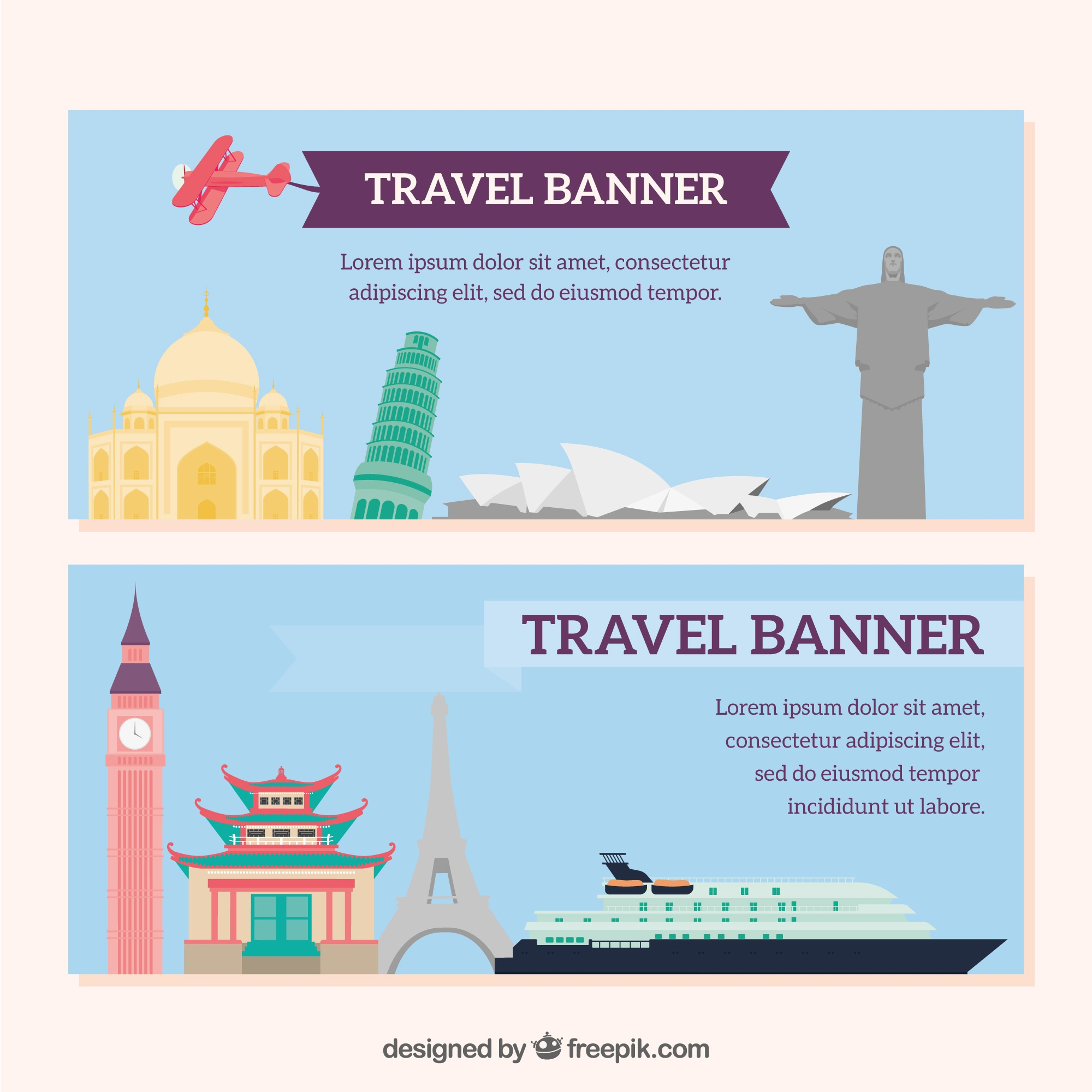 Travel banners with monuments
