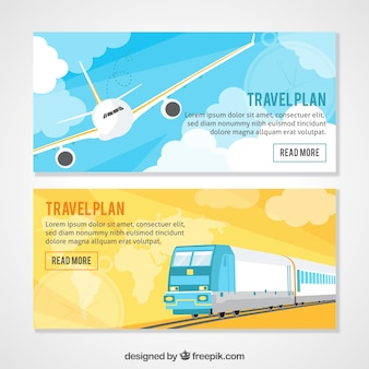 Travel banners with plane and train