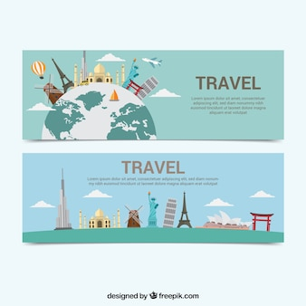 Travel banners with several monuments
