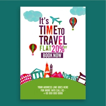Travel brochure with decorative geometric elements