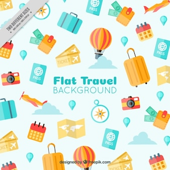 Travel elements background in flat design