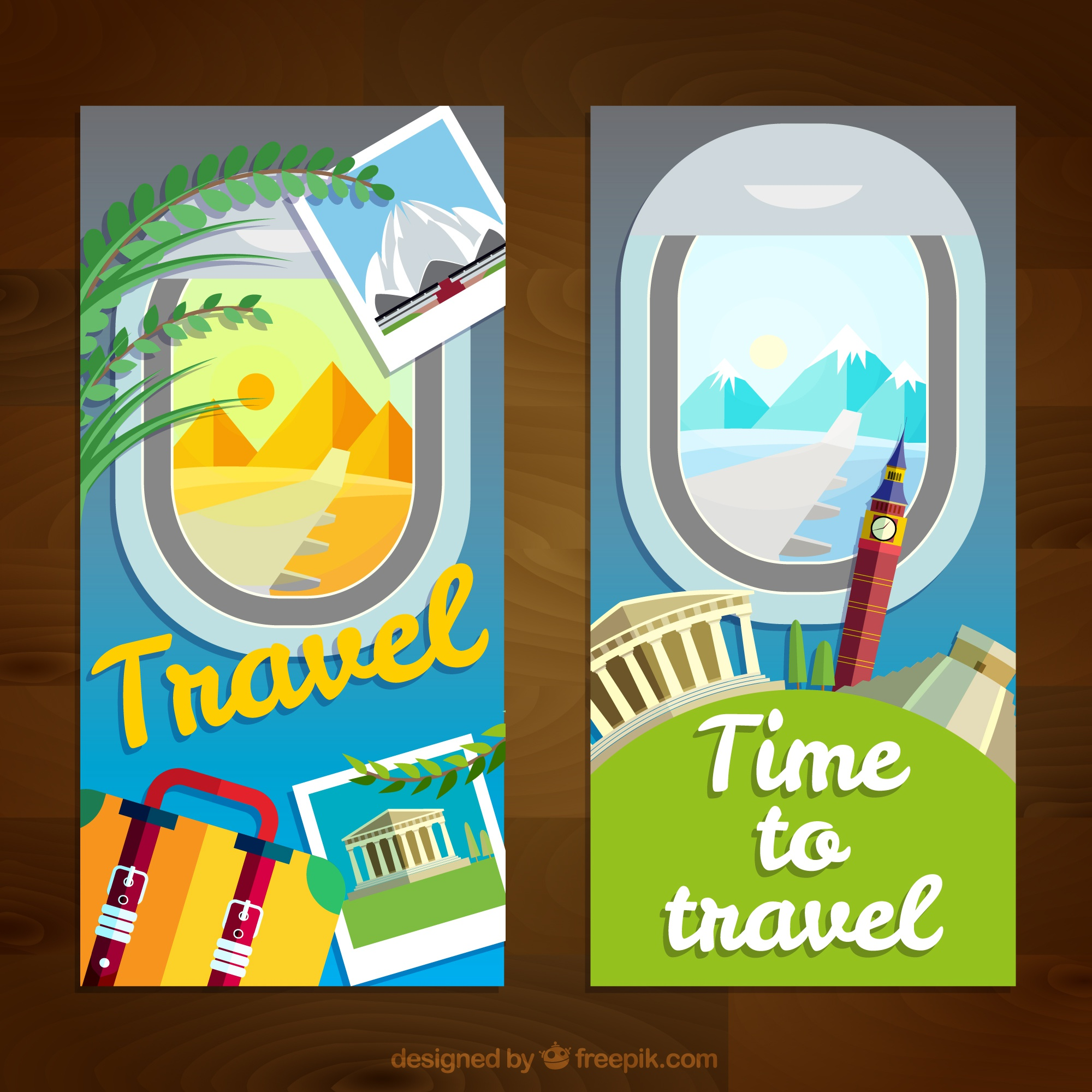 Travel elements banners and landscape views