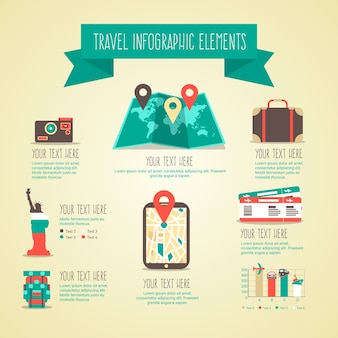 Travel infographic elements in flat and vintage style