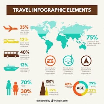 Travel infographic elements in flat design