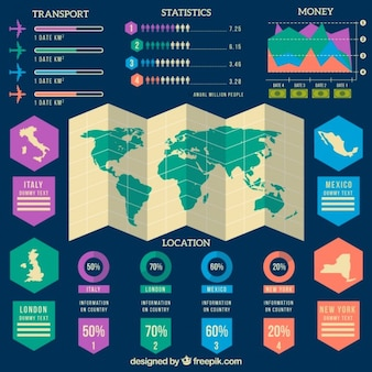 Travel infographic with colored infographic elements