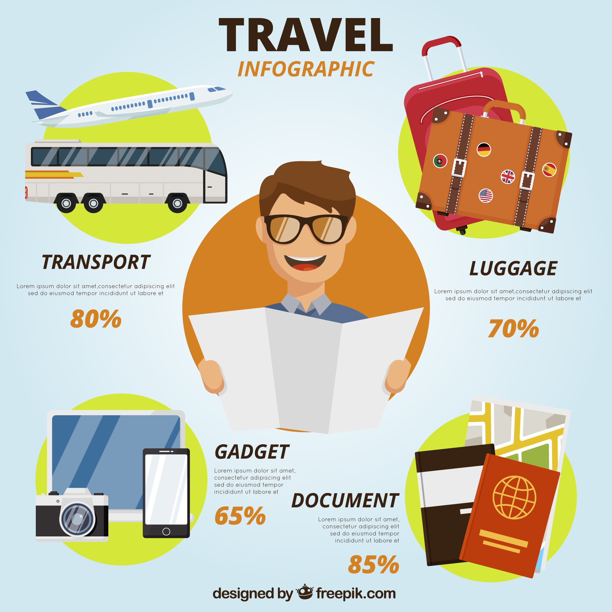 Travel infographic with smiling man and colorful elements