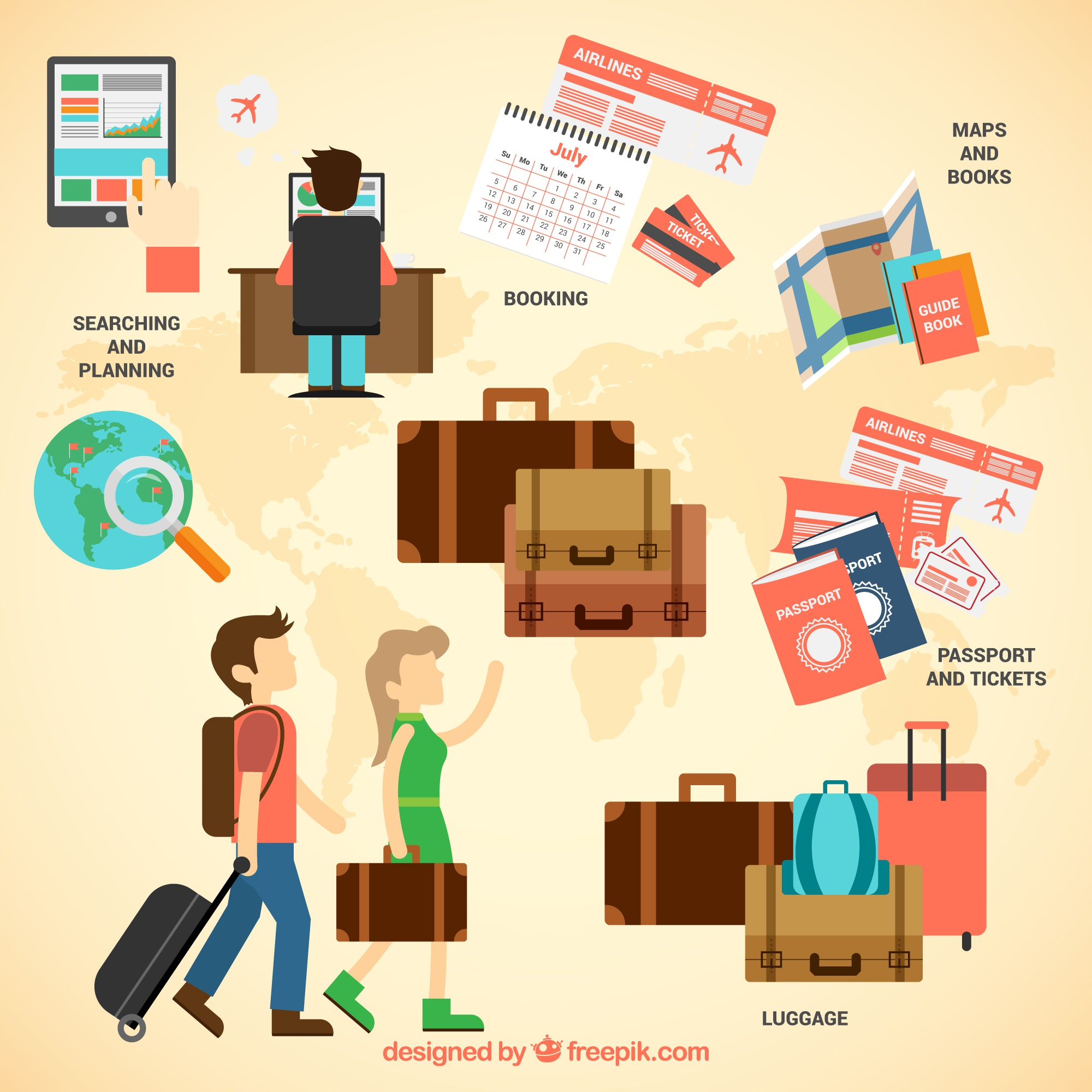 Travel infographic with suitcases
