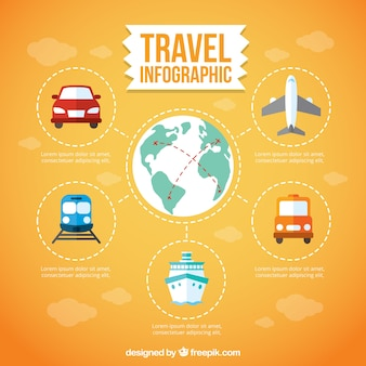 Travel infography with transports