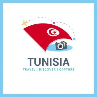 Travel logo of tunisia flag