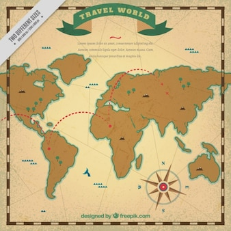 Travel map in vintage style