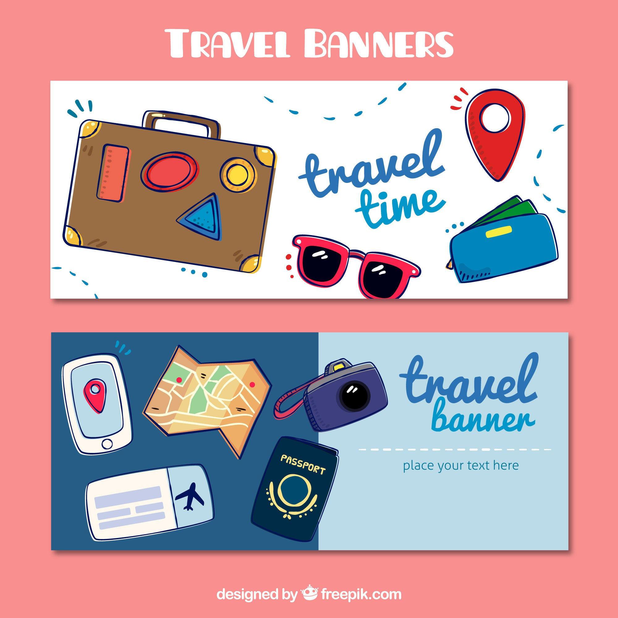 Travel sketch banners