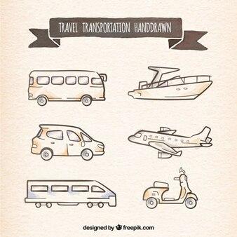 Travel transportation hand drawn