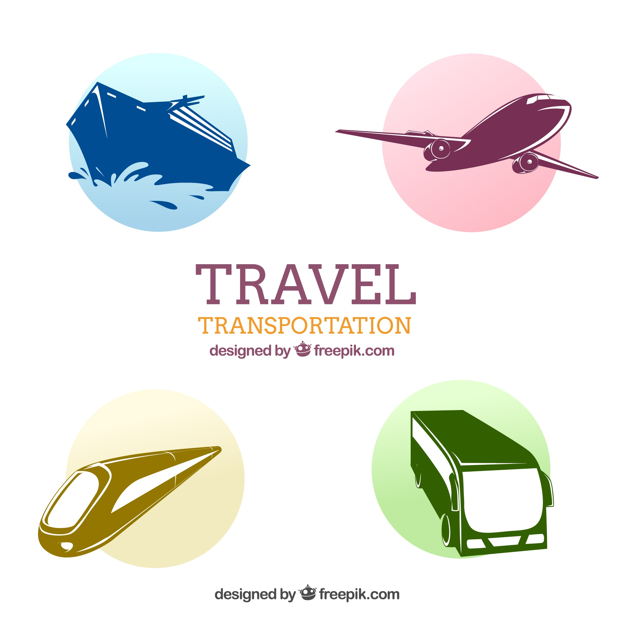 Travel transportation icons pack