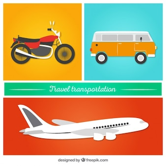 Travel transportation in a flat style