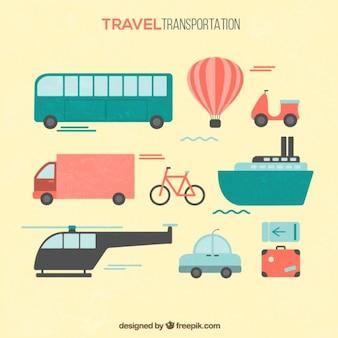 Travel transportation in flat design