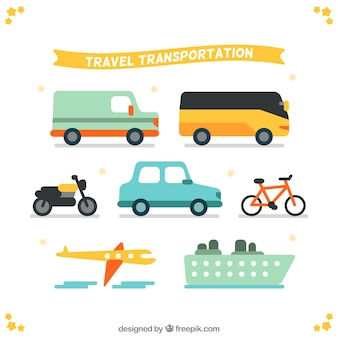 Travel transportation in flat design