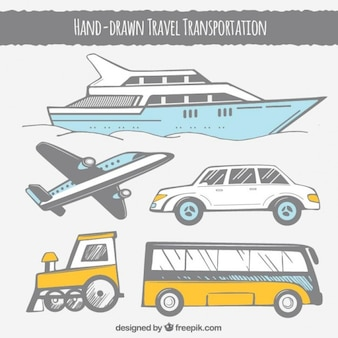 Travel transportation in hand drawn style