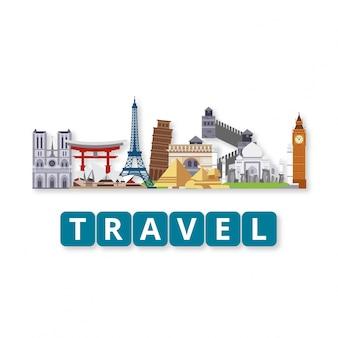 Travel world landmarks set with lettering