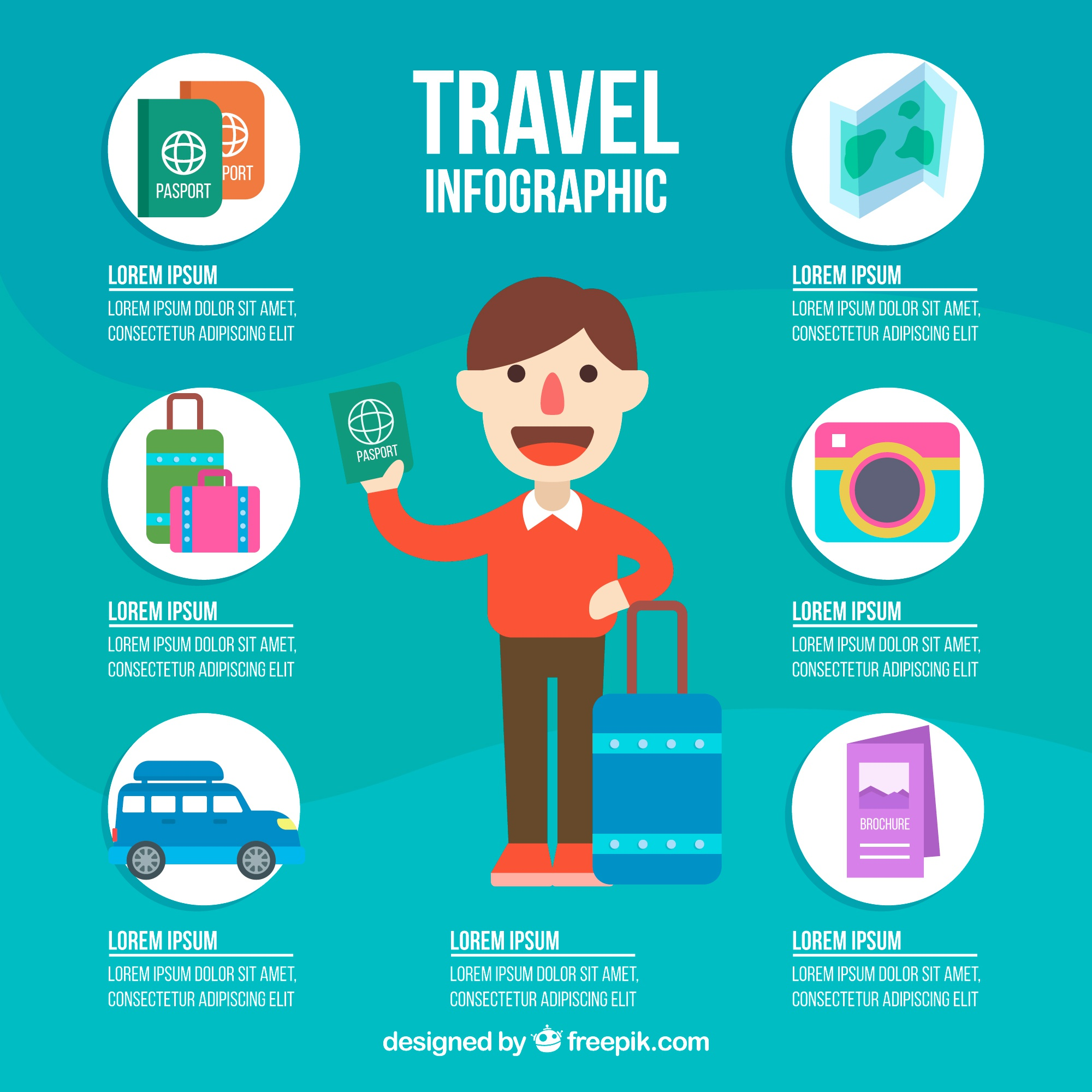 Traveler infographics with elements in flat design