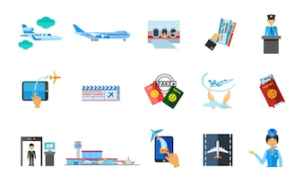 Traveling abroad icon set
