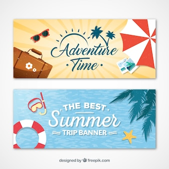 Traveling in summertime banners
