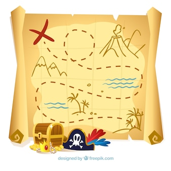 Treasure map background and elements of pirates