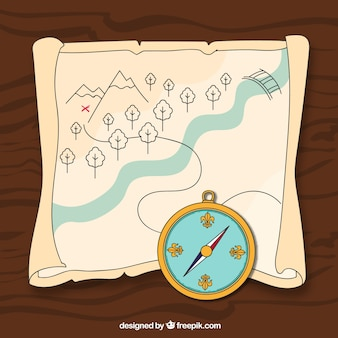 Treasure map with compass illustration