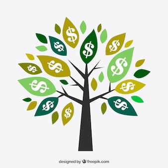 Tree background with dollar symbols on leaves