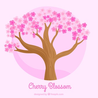 Tree background with pink flowers