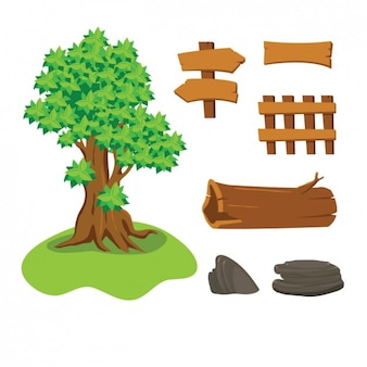 Tree, stones and wood signals