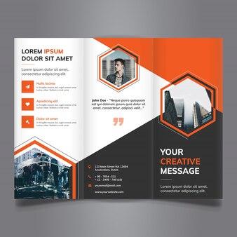 Tri fold brochure with polygonal shapes