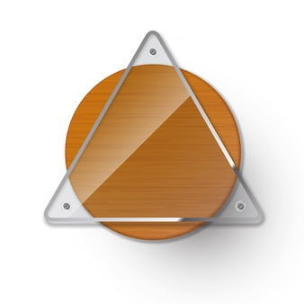 Triangle glass on rounded wood
