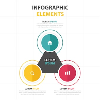Triangular infographics with circles