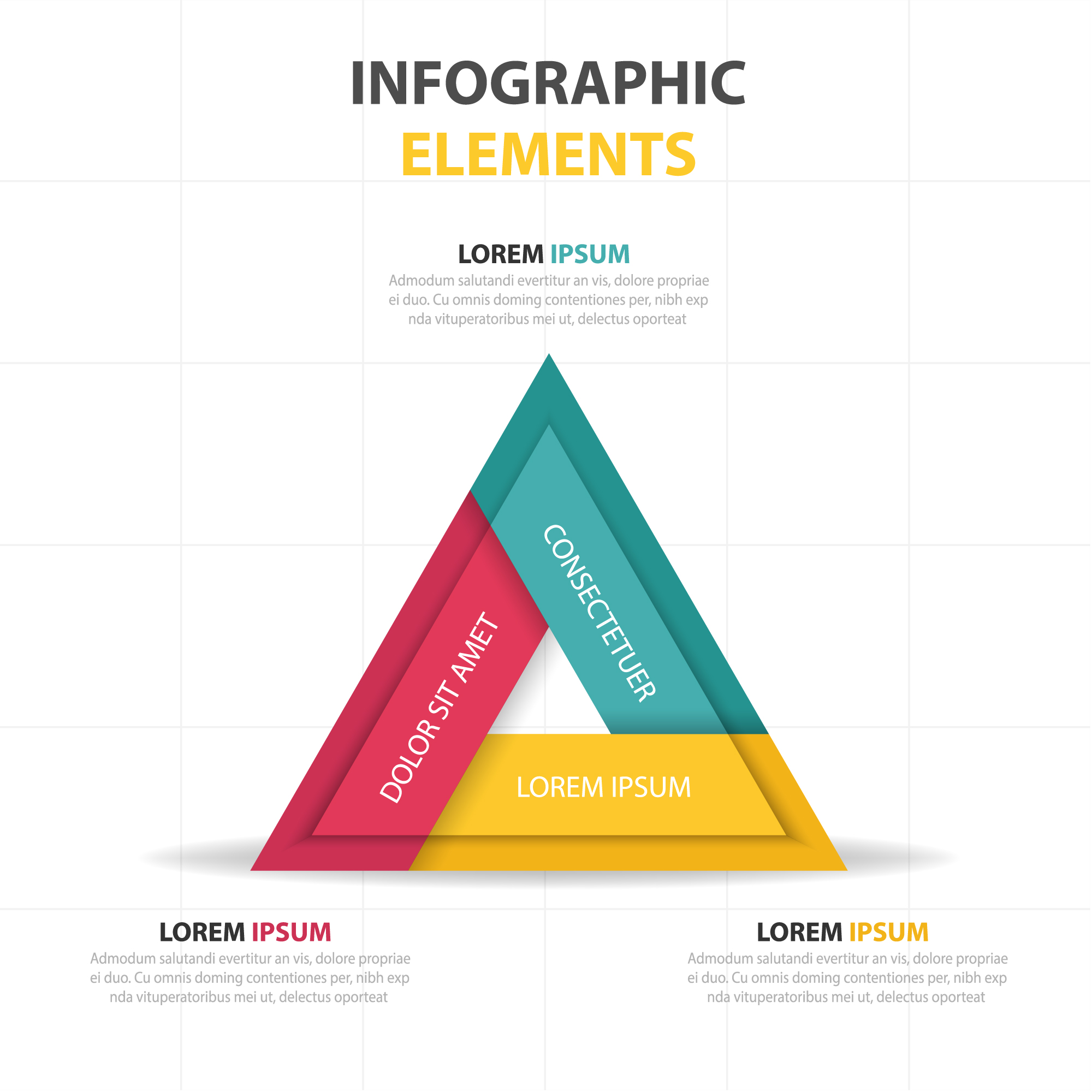 Triangular infographics with three colors