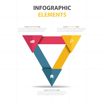 Triangular infographics with three options