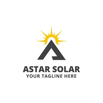 Triangular logo with a sun