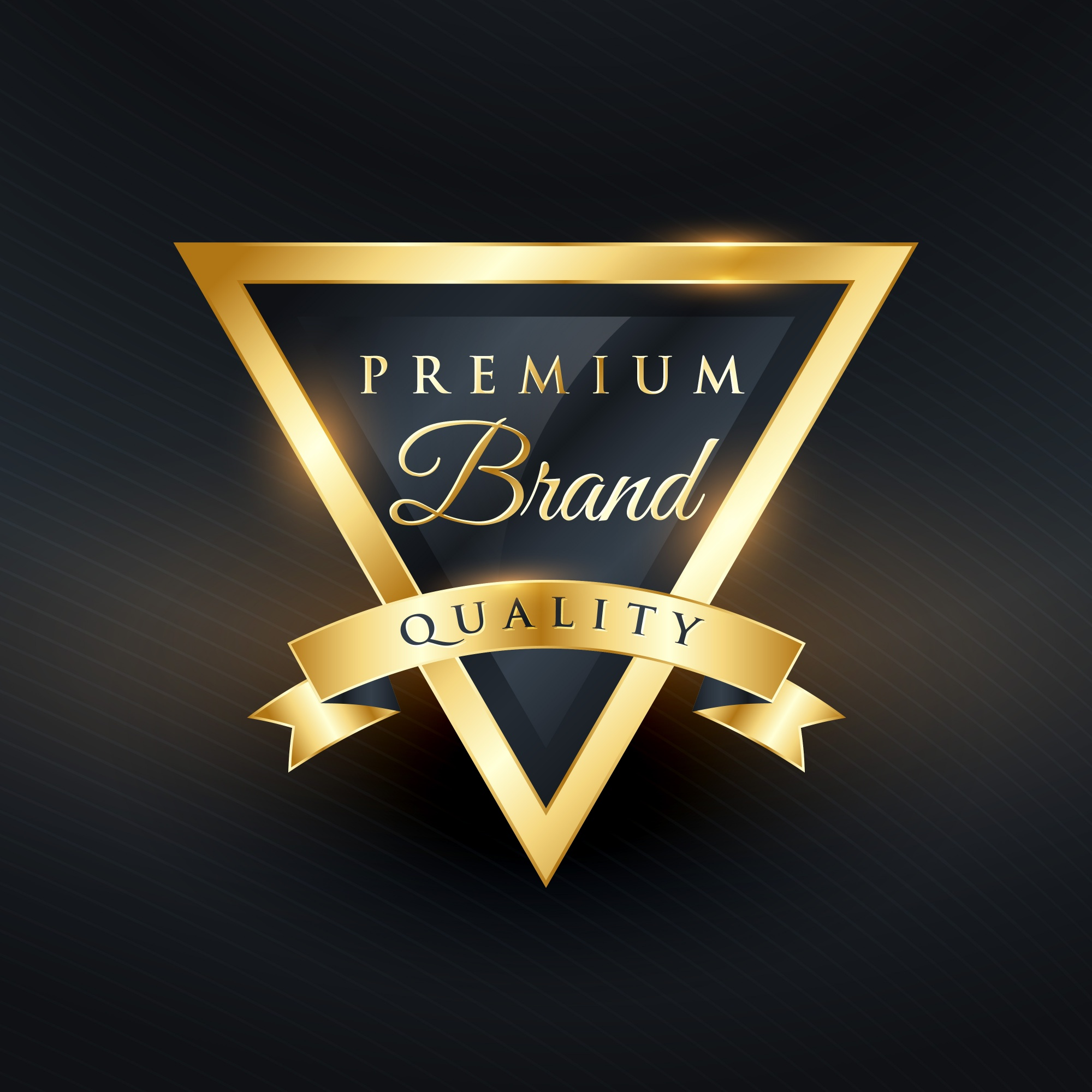 Triangular luxury label with ribbon