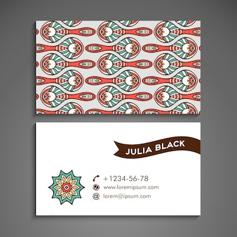 Tribal business card with mandala concept