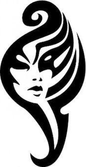 Tribal girl face tatoo template vector