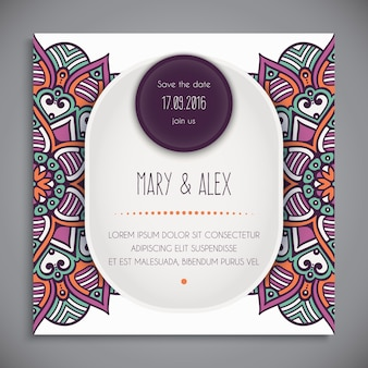 Tribal mandala style wedding invitation