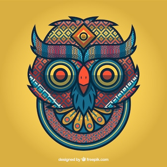 Tribal owl portrait