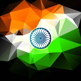 Tricolor polygonal Indian flag