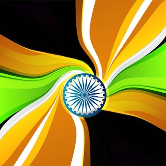 Tricolor wavy Indian flag