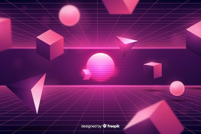 Tridimensional geometric retro futuristic background