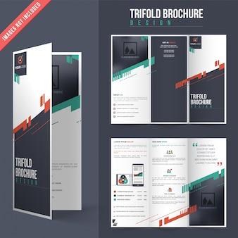 Trifold brochure design with color details
